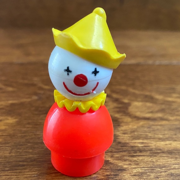 Vintage Fisher Price Little People Clown and Girl RARE